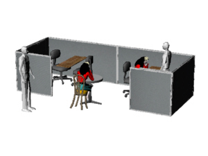 open space cubicles for two workers, for Higgins company