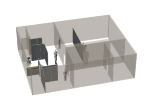 Private offices and other partitioning including a countertop for Venue company