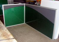 office panels with metallic green and heather grey cloth