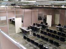 ten foot tall office partition system with doors and windows
