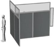 Office Partition System Showing A Small Window Panel That Fits Into An  Existing Window Recess